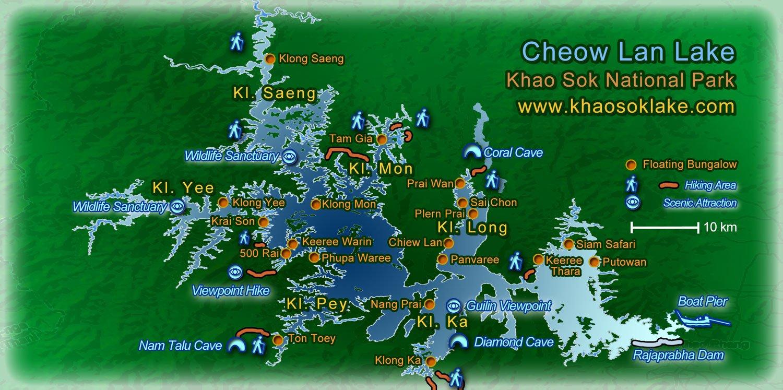 Cheow Lan Lake Map Khao Sok National Park